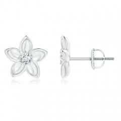 Classic Diamond Plumeria Flower Earrings