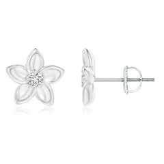 Classic Round Diamond Plumeria Flower Earrings