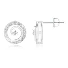 Round Diamond Studded Concentric Circle Earrings