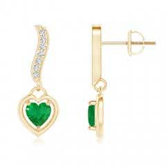 Heart-Framed Emerald and Diamond Swirl Drop Earrings
