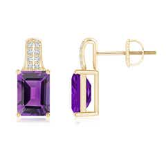 Emerald-Cut Amethyst Studs with Diamond Accents