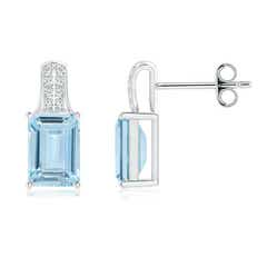 Emerald Cut Aquamarine Solitaire Stud Earrings with Diamond Accents
