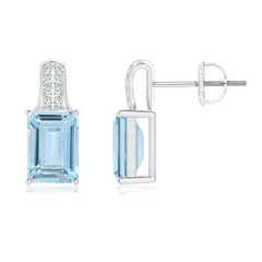 Emerald-Cut Aquamarine Studs with Diamond Accents