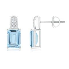 Emerald-Cut Aquamarine Studs with Diamond Accents