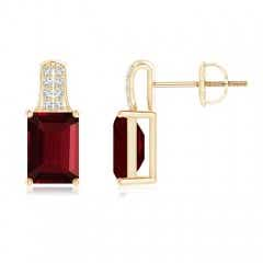 Emerald Cut Garnet Solitaire Stud Earrings with Diamond Accents