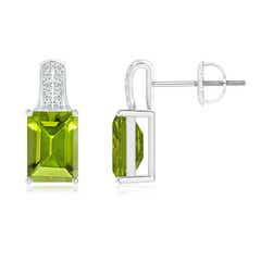 Emerald-Cut Peridot Studs with Diamond Accents