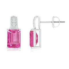 Emerald-Cut Pink Sapphire Studs with Diamond Accents