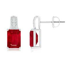 Emerald-Cut Ruby Studs with Diamond Accents
