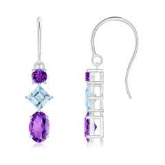Fish-Hook Amethyst and Aquamarine Three Stone Drop Earrings