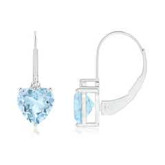 Solitaire Heart Aquamarine and Diamond Leverback Earrings