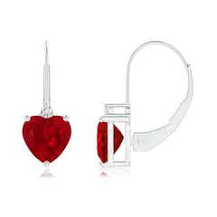 Solitaire Heart Ruby and Diamond Leverback Earrings