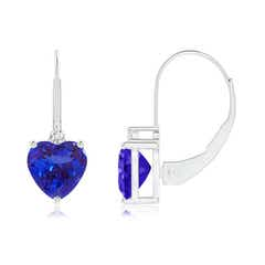Solitaire Heart Tanzanite and Diamond Leverback Earrings