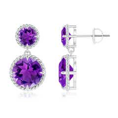 Rope Framed Claw-Set Amethyst Double-Drop Earrings