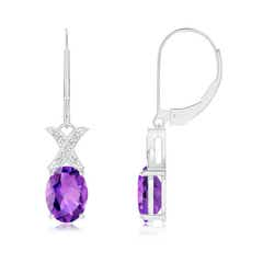 XO Diamond with Solitaire Amethyst Leverback Drop Earrings