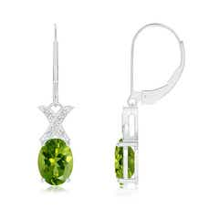 Peridot and Diamond XO Leverback Drop Earrings