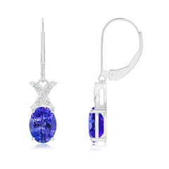 Tanzanite and Diamond XO Leverback Drop Earrings