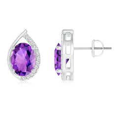Teardrop Framed Oval Amethyst Solitaire Stud Earrings