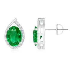 Teardrop Framed Oval Emerald Solitaire Stud Earrings