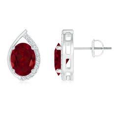 Teardrop Framed Oval Garnet Solitaire Stud Earrings