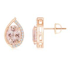Teardrop Framed Oval Morganite Solitaire Stud Earrings