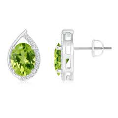 Teardrop Framed Oval Peridot Solitaire Stud Earrings