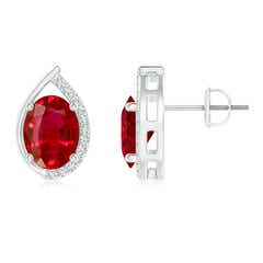 Teardrop Framed Oval Ruby Solitaire Stud Earrings