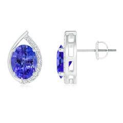 Teardrop Framed Oval Tanzanite Solitaire Stud Earrings