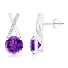 Amethyst and Diamond XO Stud Earrings