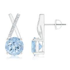 Aquamarine and Diamond XO Stud Earrings