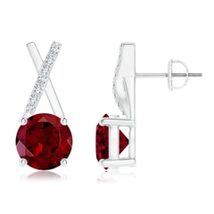 Solitaire Round Garnet XO Stud Earrings with Diamond Accents