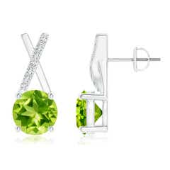 Peridot and Diamond XO Stud Earrings