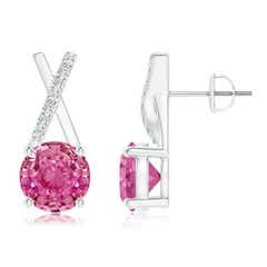 Pink Sapphire and Diamond XO Stud Earrings
