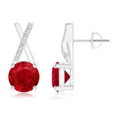 Ruby and Diamond XO Stud Earrings