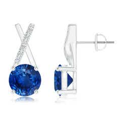 Sapphire and Diamond XO Stud Earrings