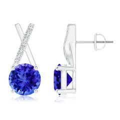 Solitaire Round Tanzanite XO Stud Earrings with Diamond Accents