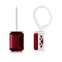 Emerald-Cut Garnet Cocktail Earrings with Diamonds