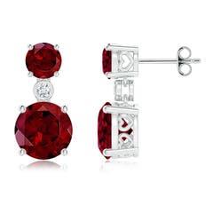 Classic Garnet Two Stone Drop Earrings with Bezel-Set Diamond