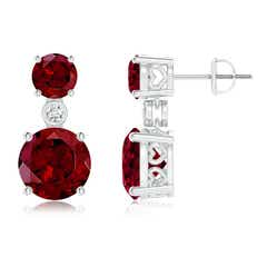 Classic Garnet Two Stone Drop Earrings with Bezel Diamond