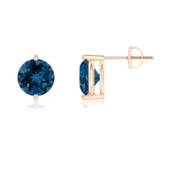 Unique Two Prong-Set London Blue Topaz Stud Earrings
