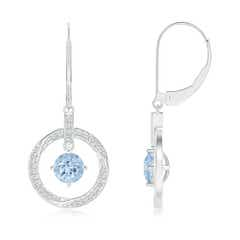 Solitaire Aquamarine Open Circle Drop Earrings with Diamond Accents