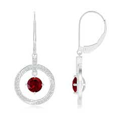Solitaire Garnet Open Circle Drop Earrings with Diamond Accents