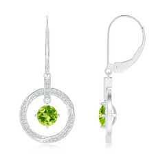 Solitaire Peridot Open Circle Drop Earrings with Diamond Accents