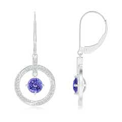 Solitaire Tanzanite Open Circle Drop Earrings with Diamond Accents