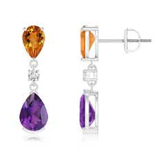 Pear Amethyst and Citrine Drop Earrings with Diamond