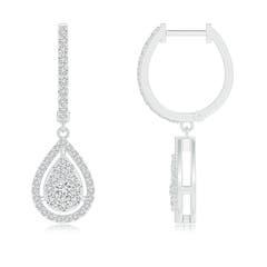 Angara Composite Diamond Angular Halo Hoop Earrings in Two Tone dp8jYpZ