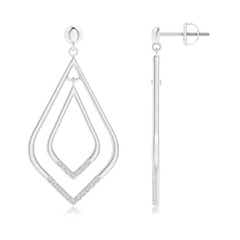 Elongated Kite Shaped Diamond Double Dangle Earrings