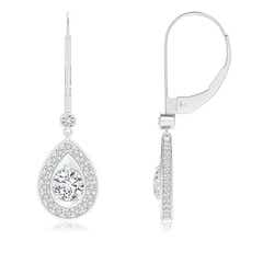 Pear Framed Round Diamond Leverback Earrings