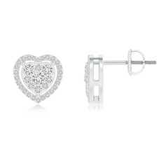 Scattered Cluster Diamond Heart Halo Stud Earrings
