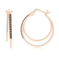 Toggle Coffee and White Diamond Studded Double Hoop Earrings