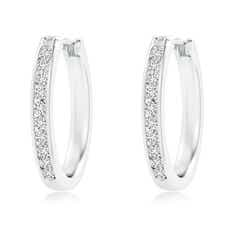 Channel-Set Round Diamond Hoop Earrings